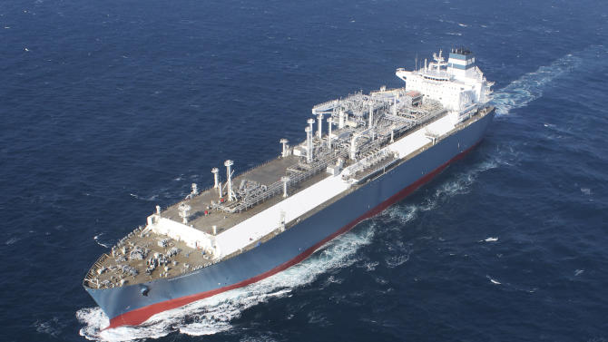 This Jan. 26, 2014 photo provided by Hoegh LNG on Tuesday, April 22, 2014 shows Hoegh's gas vessel 'Independence' during her sea trial. Later this year, the giant ship will slide up to Lithuania's Baltic port of Klaipeda. The 390-meter (1,300 foot) vessel is bigger than the largest aircraft carrier, but it's not a warship. The floating natural gas terminal will play a key role in the Baltic region's struggle to lessen its energy dependence on Russia. (AP Photo/Hoegh LNG)