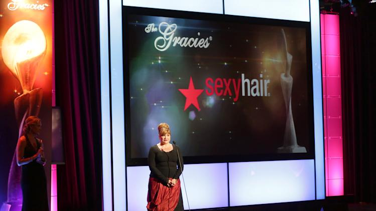 Jennifer Parks on stage at Sexy Hair Celebrates The Gracies Presented By The Alliance For Women In Media Foundation, on Tuesday, May, 21, 2013 in Beverly Hills, Calif. (Photo by Alexandra Wyman/Invision for Sexy Hair/AP Images)