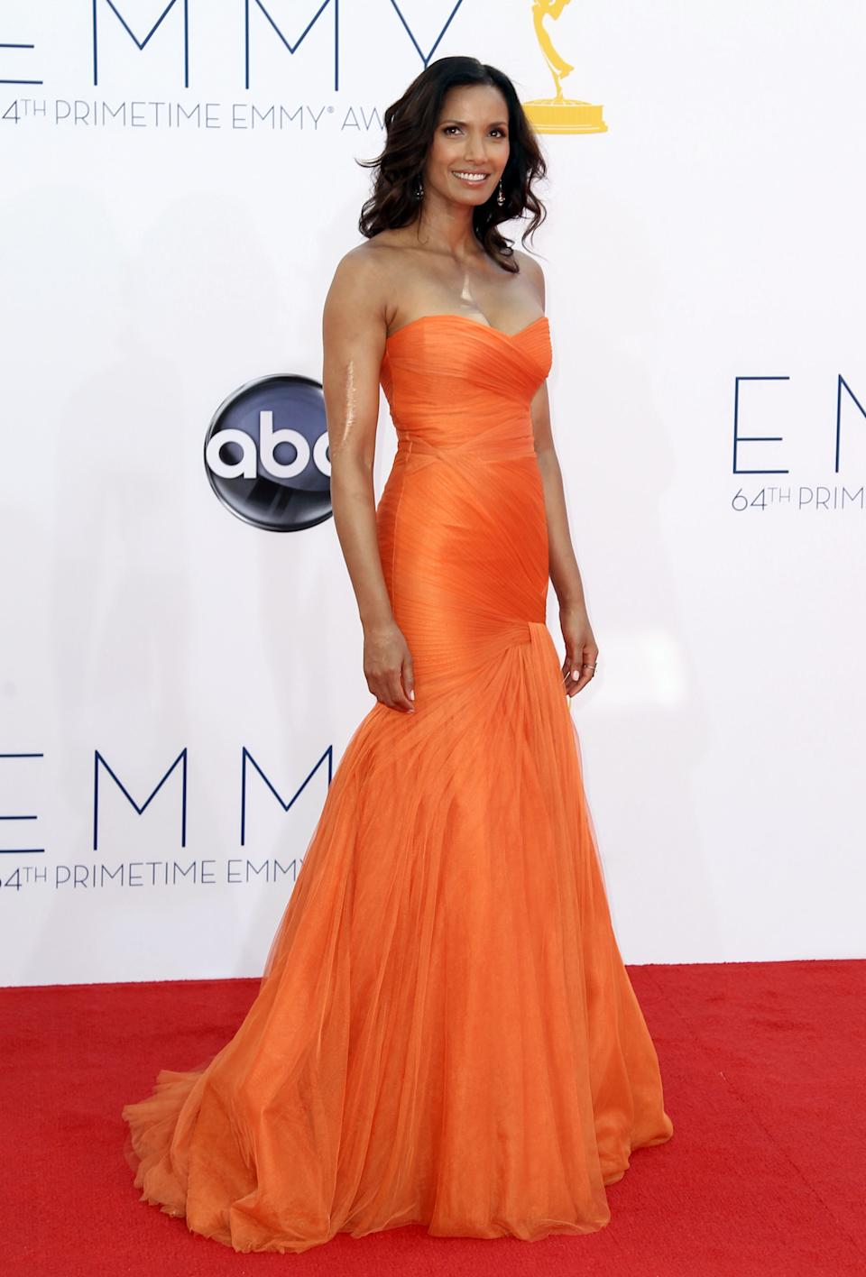 Padma Lakshmi arrives at the 64th Primetime Emmy Awards at the Nokia Theatre on Sunday, Sept. 23, 2012, in Los Angeles. (Photo by Matt Sayles/Invision/AP)