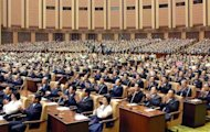 Image released by KCNA shows North Korean parliament members during a session at the Mansudae Assembly Hall in Pyongyang in 2007. The KCNA description of Tuesday&#39;s proceedings mentioned only a report on education and a minor reshuffle in the parliament&#39;s standing committee