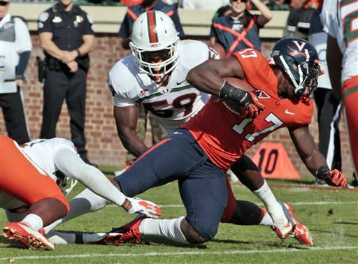 QB Rocco rallies Virginia past Miami, 41-40