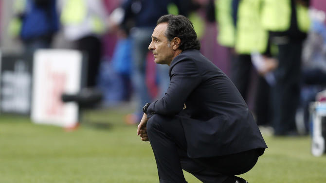 Italy coach Cesare Prandelli watches his team during the Euro 2012 soccer championship Group C match between Italy and Croatia in Poznan, Poland, Thursday, June 14, 2012. (AP Photo/Jon Super)