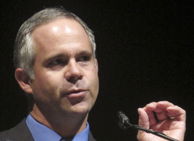 FILE - This Sept. 27, 2010 file photo shows Rep. Tim Huelskamp, R-Kansas speaking in Emporia, Kansas, before winning his seat in Congress. House Speaker John Boehner's decision to take plum committee assignments away from four Republican lawmakers after they bucked party leaders on key votes isn't going over well with conservative advocacy groups. Huelskamp will lose his seat on the House Budget Committee chaired by Rep. Paul Ryan next year. (AP Photo/John Hanna, File)