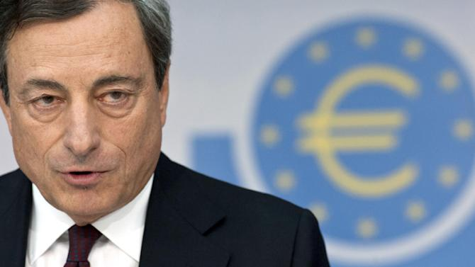 """FILE - In this Aug. 7, 2014 file photo Head of the European Central Bank, ECB, Mario Draghi attends a news conference in Frankfurt, Germany. European Central Bank President Mario Draghi says there's room for governments to dial back austerity, within limits. The ECB is looking at more stimulus, such as pumping new money into the economy by purchasing bonds. But such central bank stimulus can't do it all alone. """"It would be helpful for the overall stance of policy if fiscal policy could play a greater role alongside monetary policy, and I believe there is scope for this,"""" he said in a speech last week at a U.S. Federal Reserve conference at Jackson Hole, Wyoming. (AP Photo/dpa, Boris Roessler, File)"""