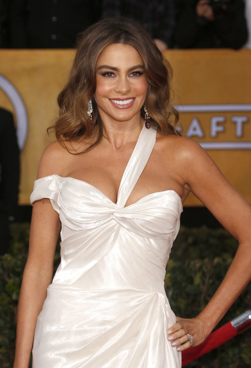 Sofia Vergara arrives at the 19th Annual Screen Actors Guild Awards at the Shrine Auditorium in Los Angeles on Sunday Jan. 27, 2013. (Photo by Todd Williamson/Invision for The Hollywood Reporter/AP Im
