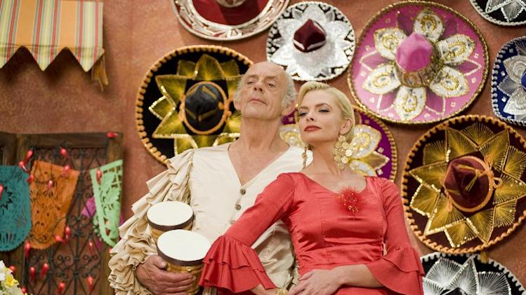"This film image released by Kenn Viselman Presents, Inc. shows actors Christopher Lloyd as Lero Sombrero, left, and Jaime Pressly as Lola in a scene from ""The Oogieloves in the Big Balloon Adventure."" (AP Photo/Kenn Viselman Presents, Inc., Matthew Mitchell)"