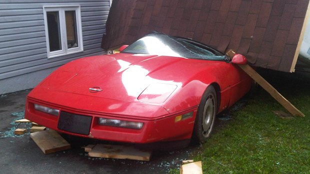 Glenn Petten's 1984 Corvette, after tropical storm Leslie went through his neighbourhood last week.