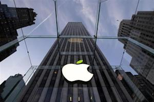 The leaf on the Apple symbol is tinted green at the Apple flagship store on 5th Ave in New York