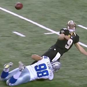 New Orleans Saints quarterback Drew Brees barely gets ball off