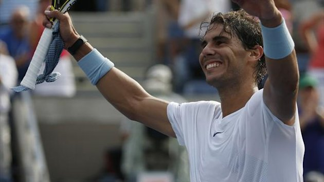 Rafael Nadal of Spain reacts after his win over Ivan Dodig of Croatia at the U.S. Open tennis championships in New York