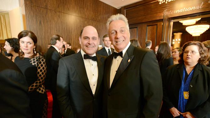 Producer Matthew Weiner, left, and Academy of Motion Picture Arts and Sciences President Hawk Koch arrive at the 24th Annual Producers Guild (PGA) Awards at the Beverly Hilton Hotel on Saturday Jan. 26, 2013, in Beverly Hills, Calif. (Photo by Jordan Strauss/Invision for The Producers Guild/AP Images)