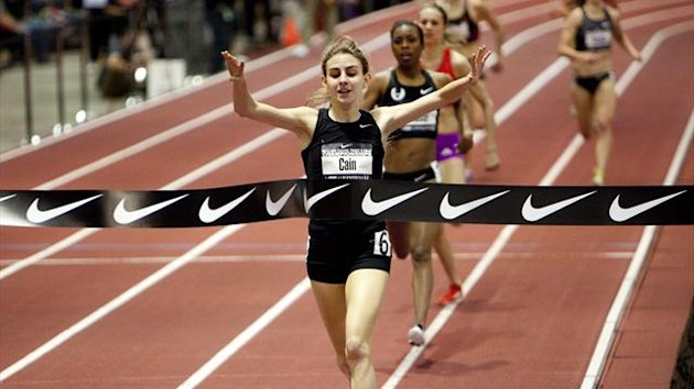 Mary Cain, 16, celebrates as she wins the women's 1 mile run finals at the USA Indoor Track and Field Championships in Albuquerque, New Mexico March 3, 2013