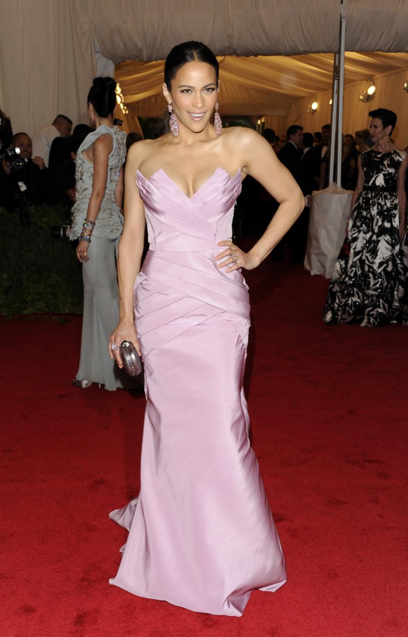 Paula Patton arrives at the Metropolitan Museum of Art Costume Institute gala benefit, celebrating Elsa Schiaparelli and Miuccia Prada, Monday, May 7, 2012 in New York. (AP Photo/Evan Agostini)