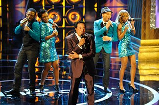 Motown legend Smokey Robinson joined Afro-Blue on the &amp;#34;Sing-Off&amp;#34; stage (Lewis Jacobs/NBC)
