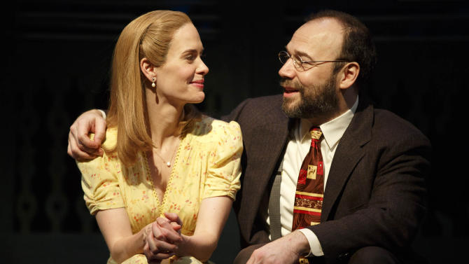 """This theater image released by Polk & Co. shows Sarah Paulson, left, and Danny Burstein during a performance of Lanford Wilson's Pulitzer Prize-winning """"Talley's Folly,"""" in New York. Set on the 4th of July near the end of World War II, """"Talley's Folly"""" is the story of an unlikely middle-age romance between two people trying to overcome their emotional baggage and find love. (AP Photo/Polk & Co., Joan Marcus)"""