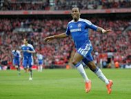 Chelsea's striker Didier Drogba celebrates scoring their second goal during the FA Cup final match against Liverpool at Wembley Stadium in London. Chelsea withstood a late Liverpool onslaught to seal their fourth FA Cup final victory in six seasons with a 2-1 win