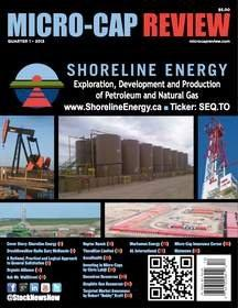 Micro-Cap Review Magazine Q1 2013 Now Available on StockNewsNow.com and MicroCapReview.com: Shoreline Energy Corp. Cover Story