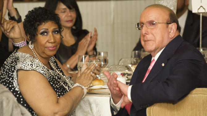 Aretha Franklin and Clive Davis attend her seventieth birthday party in New York, Saturday, March 24, 2012. (AP Photo/Charles Sykes)
