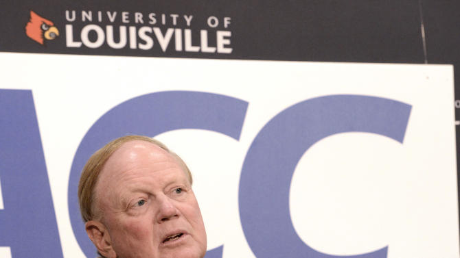 University of Louisville President Dr. James Ramsay speaks during a news conference, Wednesday, Nov. 28, 2012, in Louisville, Ky., announcing that the university is joining the Atlantic Coast Conference. (AP Photo/Timothy D. Easley)