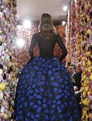 A model presents a creation by Belgian designer Raf Simons for Christian Dior during the Haute Couture Fall-Winter 2012-2013 in Paris