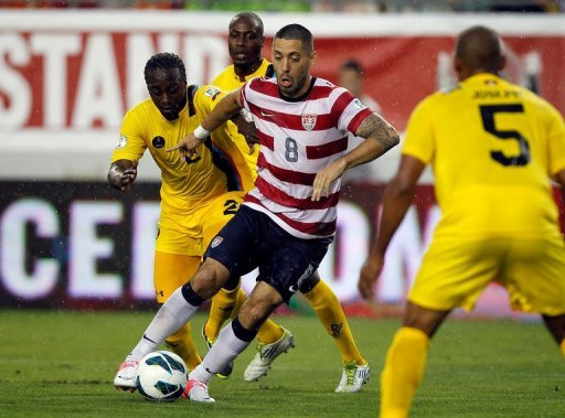 US forward Clint Dempsey (C) during the World Cup qualifying match against Antigua