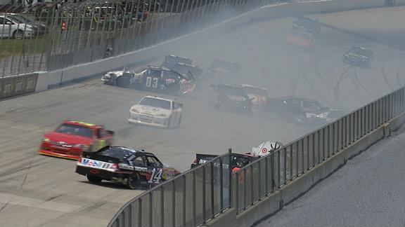 "13 cars wreck in ""Calamity Corner"" bringing out red flag"