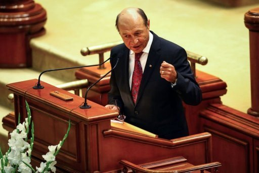 <p>Romanian president Traian Basescu delivers a speech in front of the Romanian Parliament in Bucharest. Basescu faced an impeachment vote Friday in a spiralling political crisis that has brought warnings from Western powers that the country's democracy is under threat.</p>