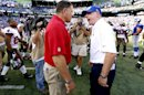 Tampa Bay Buccaneers head coach Greg Schiano, left, and New York Giants head coach Tom Coughlin exchange words at the end of an NFL football game Sunday, Sept. 16, 2012, in East Rutherford, N.J. The Giants won the game 41-34. (AP Photo/Julio Cortez)