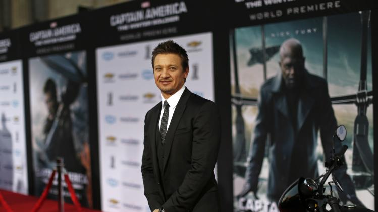 "Actor Renner poses at the premiere of ""Captain America: The Winter Soldier"" at El Capitan theatre in Hollywood"
