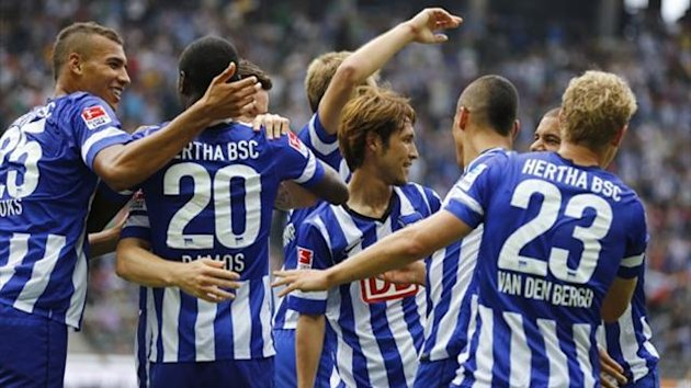 Hertha Berlin players celebrate (AFP)