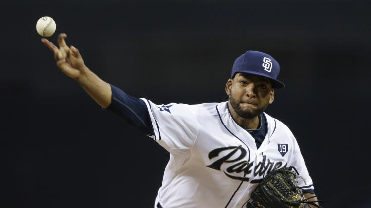 San Diego Padres starting pitcher Odrisamer Despaigne throws to an Arizona Diamondbacks batter during the first inning of a baseball game Tuesday, Sept. 2, 2014, in San Diego. (AP Photo/Gregory Bull)