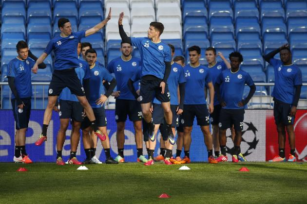 Schalke 04's players attend a training session at the Santiago Bernabeu stadium in Madrid