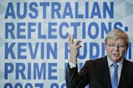 Australia's former prime minister, Kevin Rudd, delivers a speech during a luncheon in Hong Kong, on September 27, 2012. Rudd, who was dramatically ousted by his own Labor Party in mid-2010, on Friday dismissed mounting speculation he will again challenge for the leadership