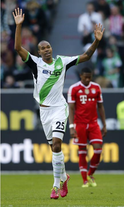 Wolfsburg's Naldo celebrates after he scores a goal against Bayern Munich during their German first division Bundesliga soccer match in Wolfsburg
