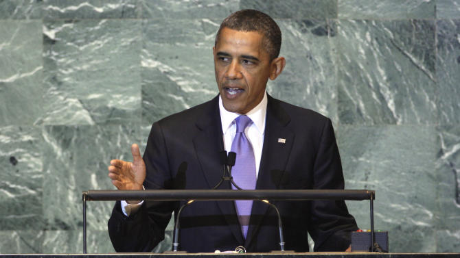 """FILE - In this Sept. 21, 2011, file photo President Barack Obama addresses the 66th session of the United Nations General Assembly. When the world's leaders gather in New York next week for the 67th session Obama has no plans to meet privately with any of them. He will, however, make time for """"The View,"""" a freewheeling TV talk show more likely to reach voters than Obama would with the diplomacy he is skipping at the United Nations. (AP Photo/Richard Drew, File)"""