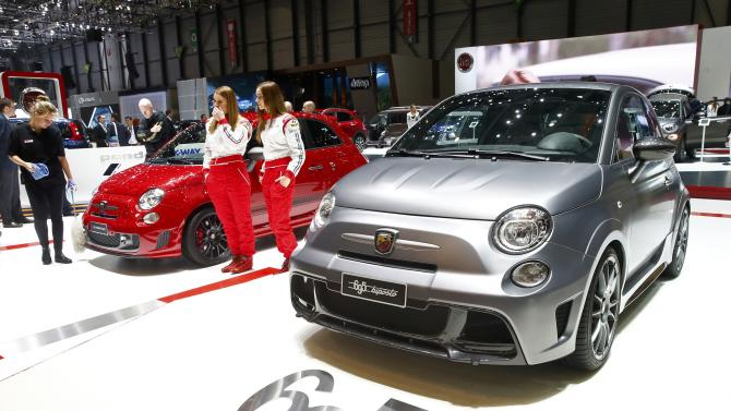 The Fiat 500's Abarth 595 Competizione and Abarth 695 Biposto are seen during the first press day ahead of the 85th International Motor Show in Geneva