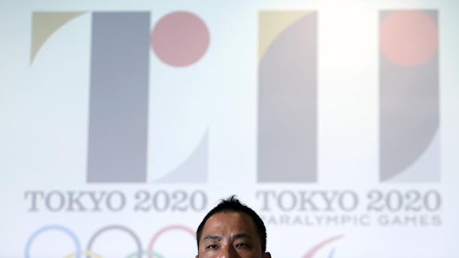 File photo of Sano, designer of the Tokyo 2020 Olympic and Paralympic Games logos, speaking during a news conference in Tokyo