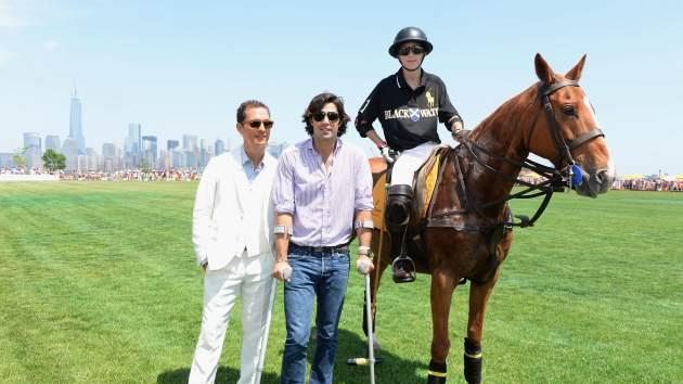 "Matthew McConaughey joins ""Nacho"" Figureas and his son Hilario at the polo event in NYC. --"