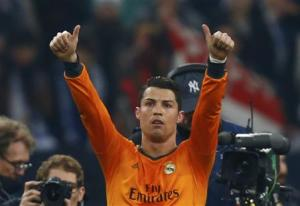 Real Madrid's Ronaldo reacts after their Champions League soccer match against Schalke 04 in Gelsenkirchen