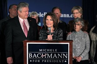 Flanked by her husband and her mother, Michelle Bachmann announced on Wednesday that she was dropping out of the presidential race. (Photo: Scott Olsen/Getty Images)