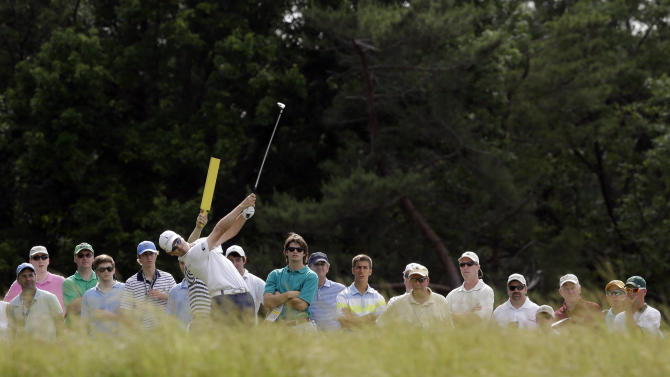 Zach Johnson tees off on the eighth hole during practice for the U.S. Open golf tournament at Merion Golf Club, Wednesday, June 12, 2013, in Ardmore, Pa. (AP Photo/Gene J. Puskar)