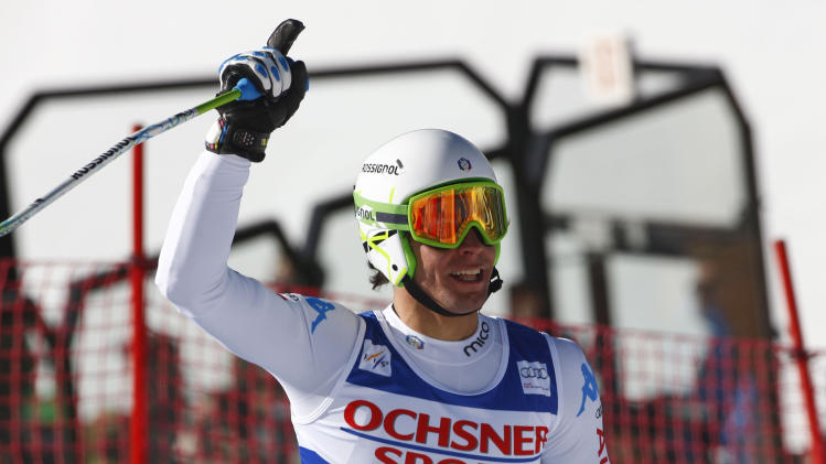 Matteo Marsaglia from Italy, reacts on the finish area after his run in the men's World Cup super-g ski race in Beaver Creek, Colo., on Saturday, Dec. 1, 2012. (AP Photo/Alessandro Trovati)