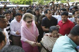 BNP Chairperson Khaleda Zia arrives for a rally in Dhaka