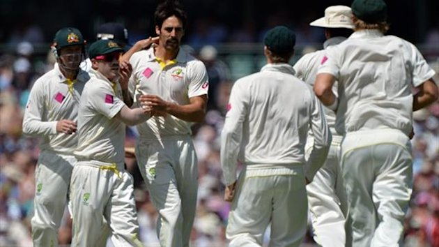 Australia's Mitchell Johnson (3rd L) celebrates his wicket of England's James Anderson (AFP)