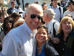 Joe Biden with volunteer Reesa Guerrero