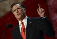 Mitt Romney speaks during the final day of the Republican National Convention in Florida on August 29. He has vowed that he would declare immediately that China is manipulating its currency by keeping the yuan artificially low