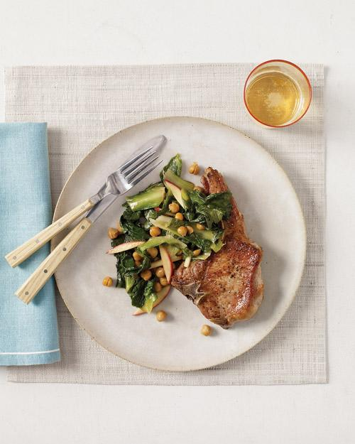 Pork Chops with Chickpeas, Escarole and Apples