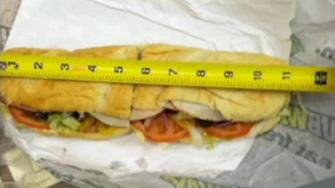 Subway sandwiches fall short of a foot long