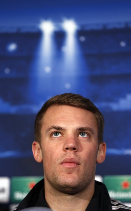 Bayern Munich's goalkeeper Manuel Neuer attends a news conference at a hotel in London