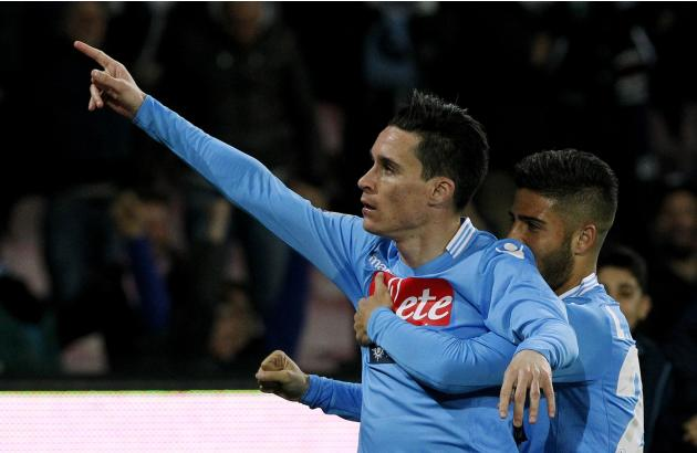 Napoli's Maria Callejon celebrates with his teammate Insigne after scoring against AS Roma during their Serie A soccer match at San Paolo stadium in Naples